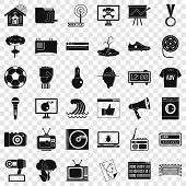 Multimedia Icons Set. Simple Style Of 36 Multimedia Vector Icons For Web For Any Design poster
