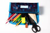 Pencil Case On A White Background. Pencils In The Pencil Case. Ruler And Scissors. School Supplies poster