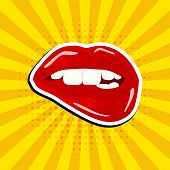 Sweet Sexy Pop Art Pair Of Glossy Vector Lips Comic Speech Bubbles. Pop Art Vector Label Illustratio poster