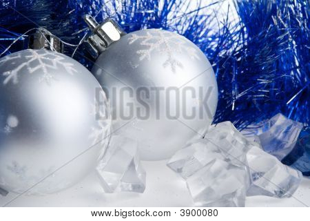 New Year Balls, Tinsel And Ice Cubes