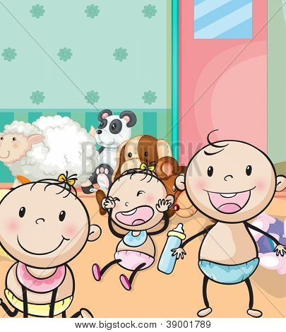 illustration of babies and animal toys in the room