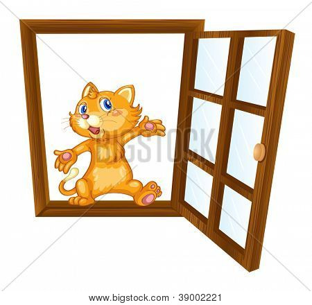detailed illustration of a cat in a window