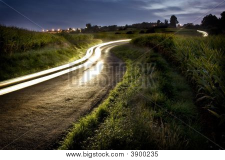 Rural Night Road