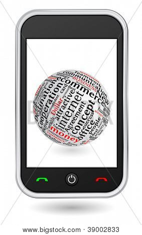 mobile phone with globe textured words