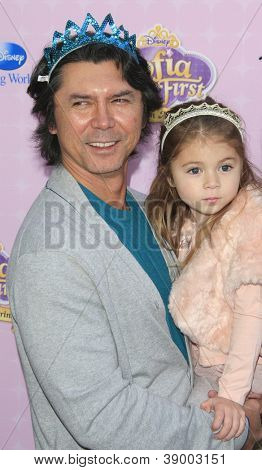 BURBANK - NOV 10: Lou Diamond Phillips, daughter Indigo at the premiere of Disney Channels' 'Sofia The First: Once Upon a Princess' at Walt Disney Studios on November 10, 2012 in Burbank, California