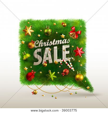 Bolha de Natal para o discurso - árvore de abeto. Ilustração vetorial.