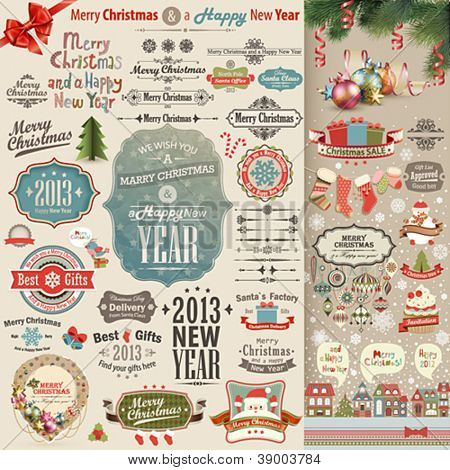 Christmas vintage Scrapbook set - labels, ribbons and other decorative elements. Vector illustration.