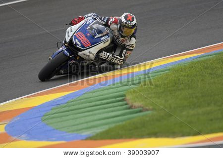 CHESTE - NOVEMBER 11: Jorge Lorenzo during MOTOGP Race of the Comunitat Valenciana, on November 11, 2012, in Ricardo Tormo Circuit of Cheste, Valencia, Spain