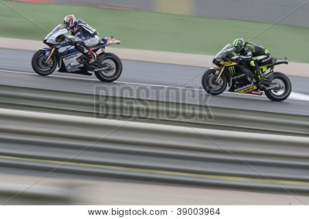 CHESTE - NOVEMBER 11: Katsuyuki Nakasuga first & Cal Crutchlow during MOTOGP Race of the Comunitat Valenciana, on November 11, 2012, in Ricardo Tormo Circuit of Cheste, Valencia, Spain