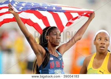BARCELONA - JULY, 13: Ashley Spencer of USA celebrating gold in relays event of the 20th World Junior Athletics Championships at the Olympic Stadium on July 13, 2012 in Barcelona, Spain