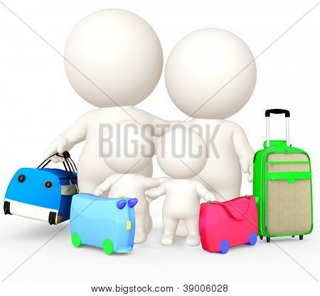 3D family going on holidays - isolated over a white background