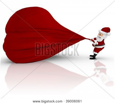 3D Santa pulling a gift sack - isolated over a white backgorund