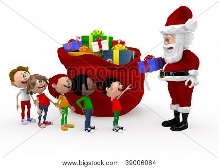 3D Santa giving Christmas presents to a group of kids queuing - isolated