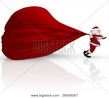 3D Santa carrying a heavy gift sack - isolated over white background