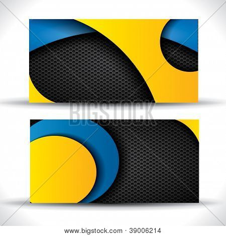 Modern business card - blue, yellow and black colors