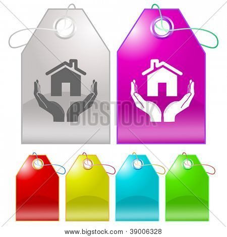 home in hands. Raster tags. Vector version is in my portfolio.