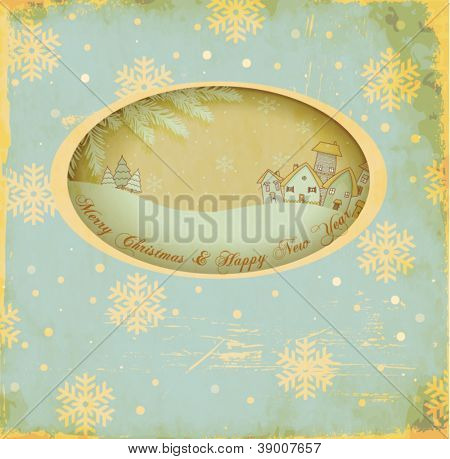 Vintage Christmas and New Year Greeting Card, with a window cutout and scenic winter inset. Village, pine trees, snowy hills, fir branches and snowflakes, in worn folk/retro style, on wintry backdrop