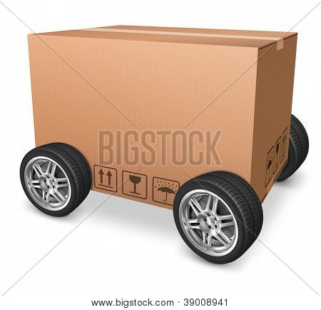 blank cardboard box on wheels isolated package concept for package delivery or moving  and freight transportation isolated