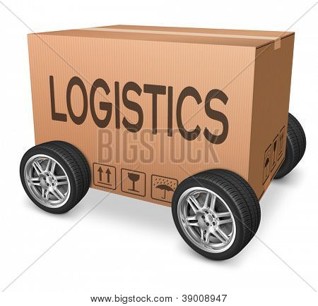 Logistics freight transportation cardboard box with text international trade importation and exportation