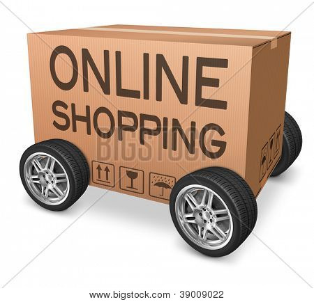 online shopping web shop icon online order from internet webshop cardboard box package with text and wheels