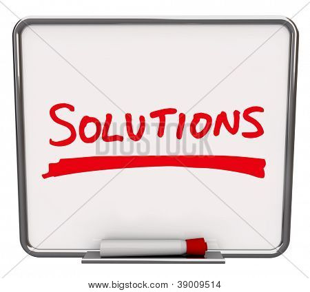 The word Solutions written on a white dry erase board with red marker to encourage you to look for answers and innovative ideas to solve a problem or dilemma