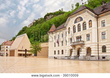 The building of parliaments of Liechtenstein on the main square. Vaduz. Europe.