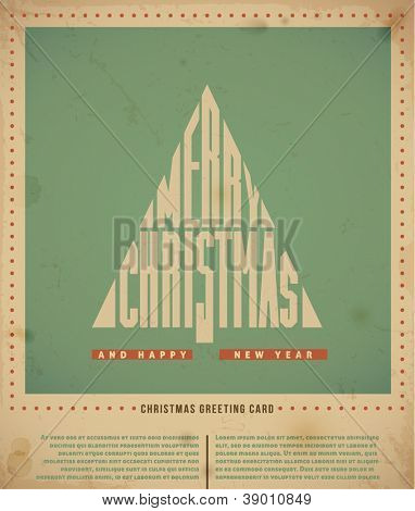 """Retro  Christmas Greeting Cards, text """"Merry Christmas"""" in a form of Christmas tree. vector illustration."""
