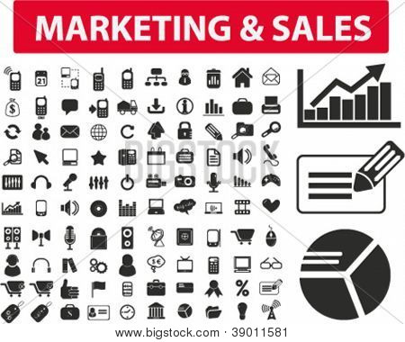 marketing & sales icons set, vector