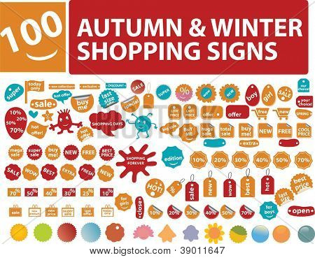 autumn & winter sales, shop labels, tags, signs, icons set, vector