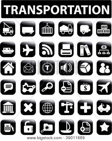 transportation & logistics icons, buttons set, vector