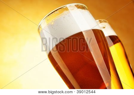 Two glasses of beer close-up