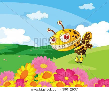 illustration of a bee in a beautiful nature