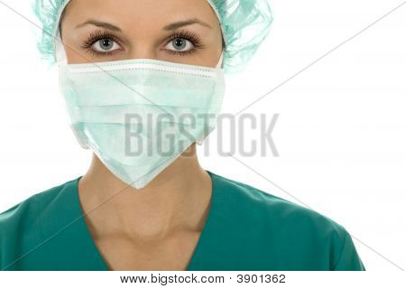 Female Doctor In Scrubs