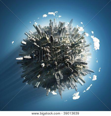 gran ciudad en pequeño planeta