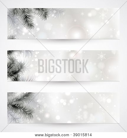 set of three Christmas banners with fir tree