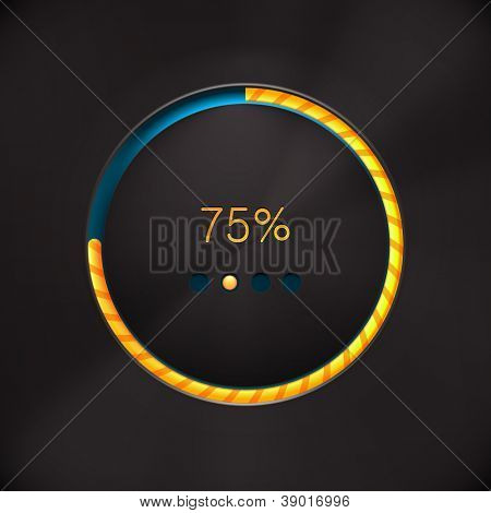 Round preloading  progress bar on black background with yellow-orange buffering indicator. Web preloader. Download bar. Vector illustration