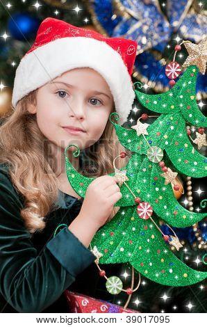 Christmas, kid, Christmas tree - lovely girl at Christmas time