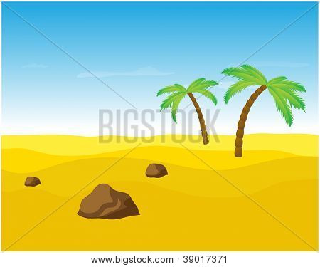 Palm trees in the desert, vector illustration