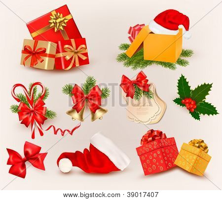 Big set of Christmas icons and objects. Vector illustration.