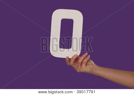 Female hand holding up the number 0 against a purple background conceptual of numbers, measurement, amount, quantity, accounting and mathematics