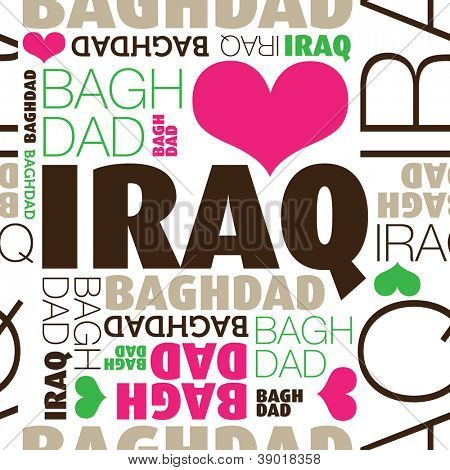 Ich liebe Bagdad Irak nahtlose Typografie Hintergrundmuster in Vektor