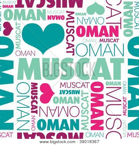 I love Muscat Oman seamless typography background pattern in vector