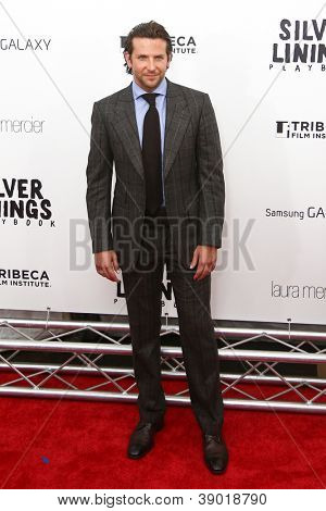 "NEW YORK-NOV 12: Actor Bradley Cooper attends the premiere of ""Silver Linings Playbook"" at the Ziegfeld Theatre on November 12, 2012 in New York City."