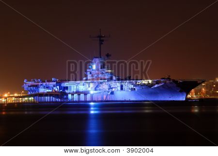 Uss Lexington Illuminated At Night, Corpus Christi, Tx Usa