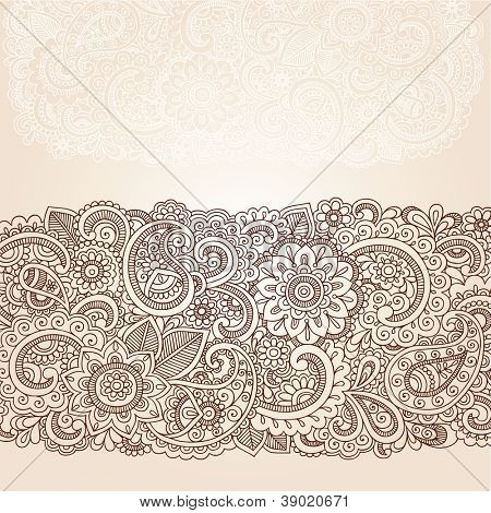 Henna Flowers and Paisley Mehndi Tattoo Edge Design Doodle- Abstract Floral Vector Illustration Design Elements