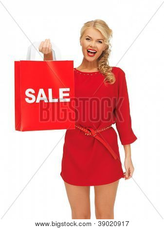 picture of laughing woman in red dress with shopping bag
