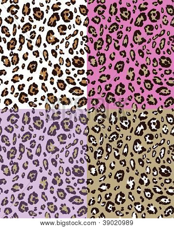 Leopard skin seamless pattern with  various background