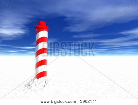 North Pole With Spiral Pattern On Ice