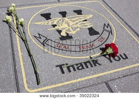 MORRIS PLAINS, NJ-SEPT 11: Flowers lay on a tile that honors Navy Seal Team Six within the 911 memorial on the 11th anniversary of the terror attacks on September 11, 2012 in Morris Plains, NJ.