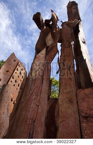 MORRIS PLAINS, NJ-SEPT 11: A low angle view within the 911 memorial of steel salvaged from the World Trade Center on the anniversary of the terror attacks on September 11, 2012 in Morris Plains, NJ.